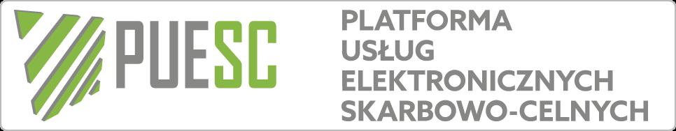Logo: PUESC. Napis: Platforma usług elektronicznych skarbowo-celnych.