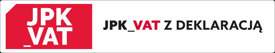Ikona: JPK_VAT. Napis: JPK_VAT z deklaracją.
