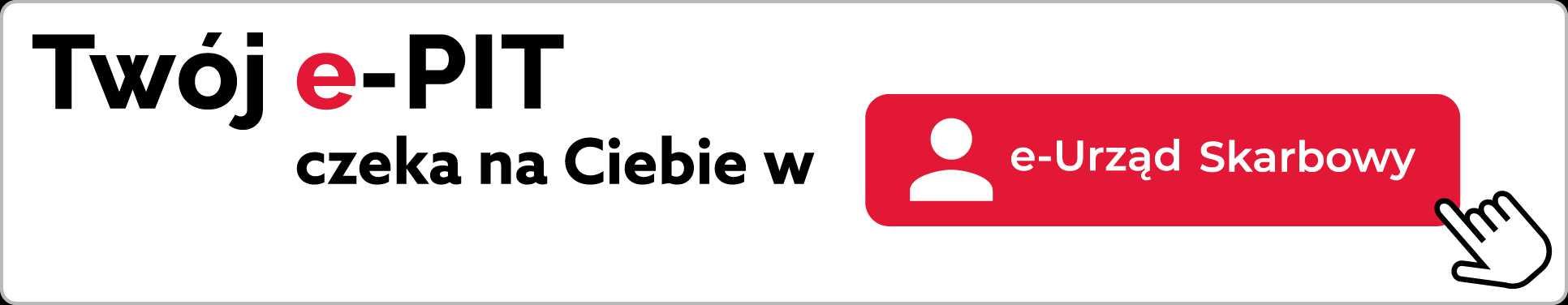 Ikona: Człowiek. Ikona: Kliknięcie. Napis: Twój e-PIT czeka na Ciebie w e-Urząd Skarbowy