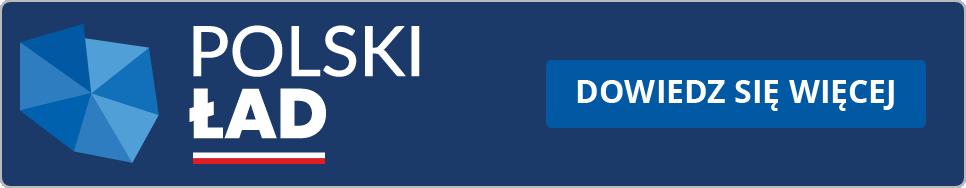 Ikona: Stylizowana mapa Polski. Napis: Polski Ład, pod spodem pasek w kolorach polskiej flagi. Obok napis: Dowiedz się więcej